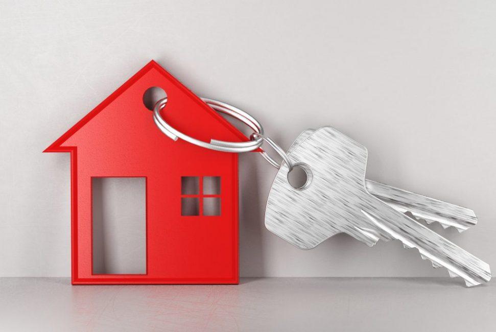 Key house, banner, new home, 3d render illustration